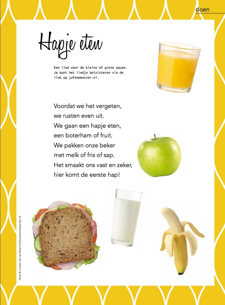 Een nieuw lied voor bij het eten en drinken op school.