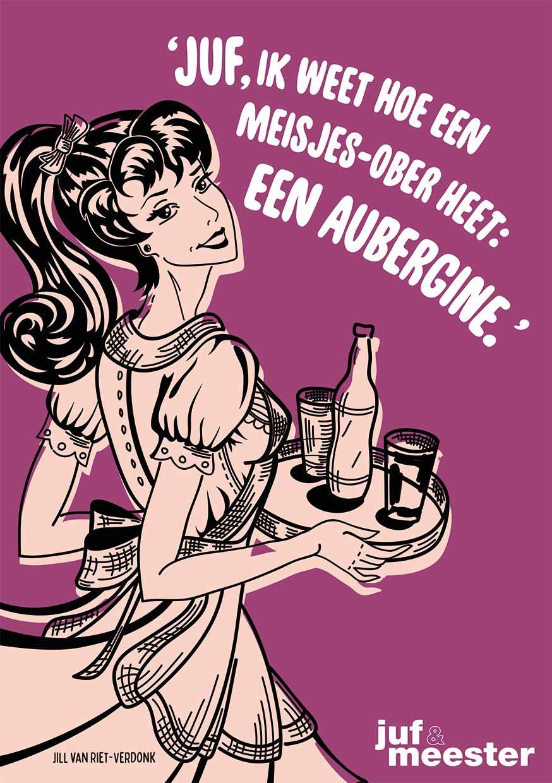 Juf & Meester Kinderpraatje: een vrouwelijke ober is een aubergine