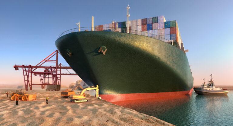 Een file van schepen